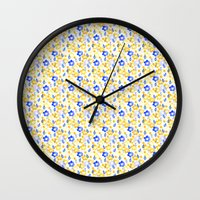 Yellow and Blue Flowers Wall Clock