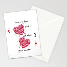 Kiss My Lips and I Will Kiss Your Heart Stationery Cards