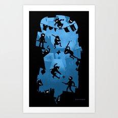 Ninja Kick Ass Clash Art Print