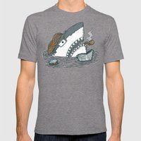The Dad Shark Mens Fitted Tee Tri-Grey SMALL