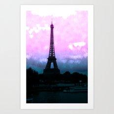 Paris Eiffel Tower : Lavender Teal Art Print