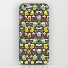 Owls and flowers iPhone & iPod Skin