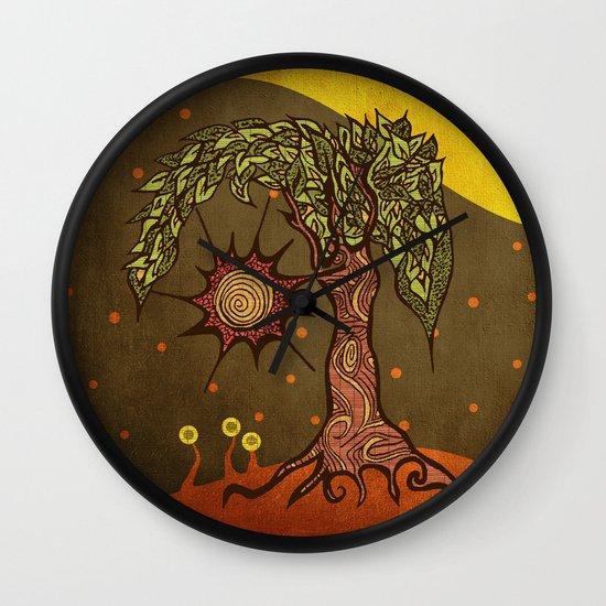"Mystic tree Dia by Pom Graphic Design & Viviana Gonzalez"" Wall Clock"