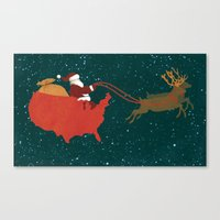 Red White and Blue Christmas Canvas Print