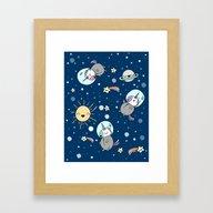 Cute Space Unicorns Framed Art Print