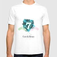 Gun & Roses Mens Fitted Tee White SMALL