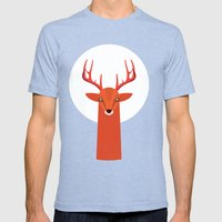 Deer And Moon Mens Fitted Tee Tri-Blue SMALL