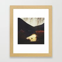 Sunset by the lake Framed Art Print