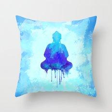 Watercolor Zen Buddha Bl… Throw Pillow