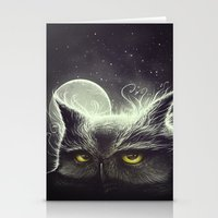 owl Stationery Cards featuring Owl & The Moon by Dr. Lukas Brezak