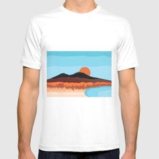 Landscape of Naples with volcano Vesuvio Mens Fitted Tee White SMALL