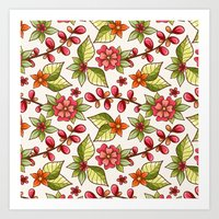 Red Sweet Flowers Art Print