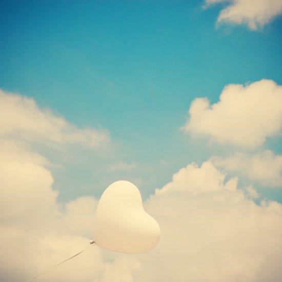Blind Love, Heart Ballon and blue sky  Art Print