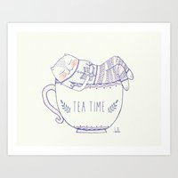 tea cat Art Print