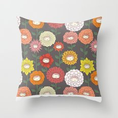 Talking Garden (gray) Throw Pillow
