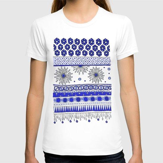Yzor pattern 007-2 blue T-shirt