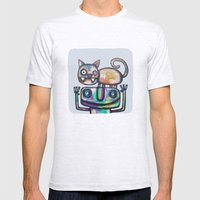 Juggler with Cat Mens Fitted Tee Ash Grey SMALL
