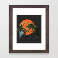 Boba Fett Vs. T Rex Framed Art Print