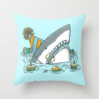 Birthday Shark II Throw Pillow