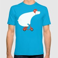 Polar Bear On Scooter Mens Fitted Tee Teal SMALL