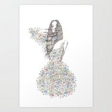 Flower Girl - pattern Art Print