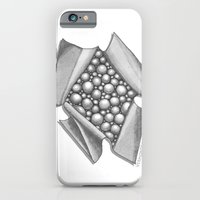 iPhone Cases featuring Zentangle 3D Box of Balls Black and White Illustration by Vermont Greetings