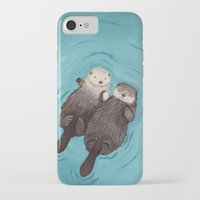 heart iPhone & iPod Cases featuring Otterly Romantic - Otters Holding Hands by When Guinea Pigs Fly