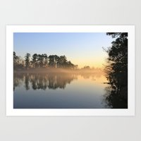 Misty Lake in Color Art Print