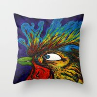 Rooster, Gnarley Throw Pillow