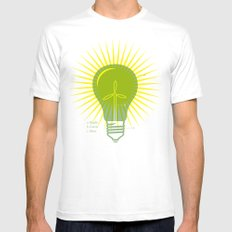 Bright Green Ideas Mens Fitted Tee White SMALL
