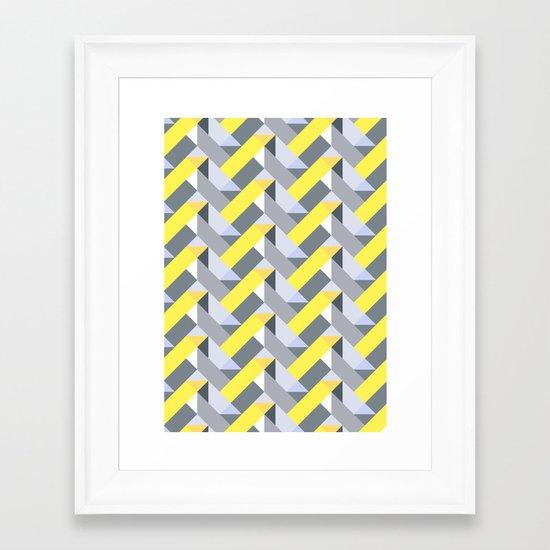 Herringbone geometric yellow Framed Art Print
