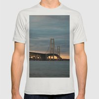 Sunset at the Mackinac Bridge Mens Fitted Tee Silver SMALL