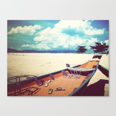 Longboat on the Shore, Thailand Canvas Print