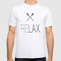 Relax Lacrosse LAX Mens Fitted Tee Ash Grey SMALL