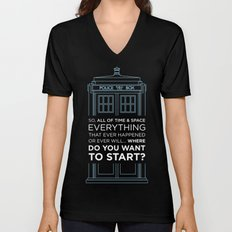 Doctor Who - TARDIS Where Do You Want to Start Unisex V-Neck