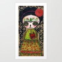 Frida The Catrina And Th… Art Print