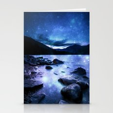 Magical Mountain Lake Blue Stationery Cards