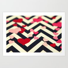 Chevron and Hearts Art Print