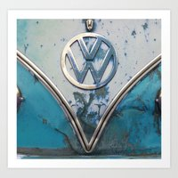 Blue Rusty VW Art Print
