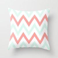 Mint & Coral Chevron Throw Pillow