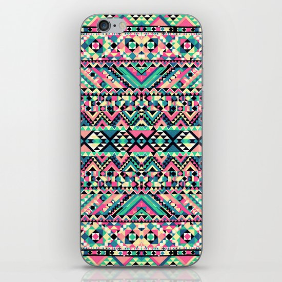 Pink Turquoise Girly Aztec Andes Tribal Pattern iPhone & iPod Skin