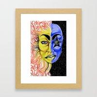 Roobiks Sun and Moon Framed Art Print