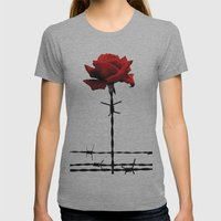 Barbed Wire Red Rose Womens Fitted Tee Athletic Grey SMALL