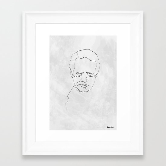 One Line Number 6 Framed Art Print