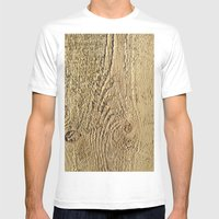 Unrefined Wood Grain Mens Fitted Tee White SMALL