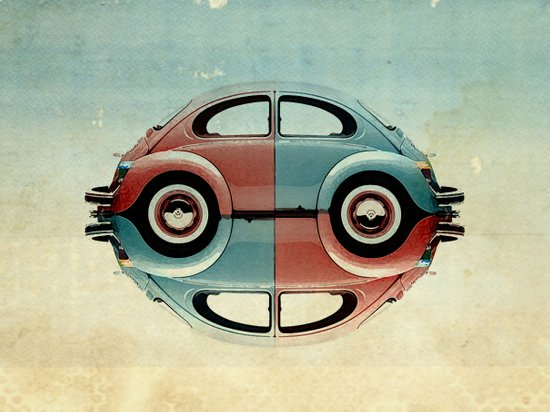 checkered 4 speed - VW beetle  Art Print