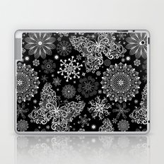 Butterfly & Floral Black and White Pattern Laptop & iPad Skin
