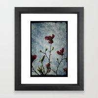 Magnolia Red Framed Art Print