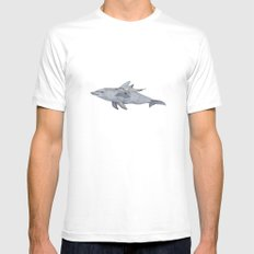 Dolphin Mama and Baby White Mens Fitted Tee SMALL