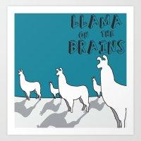 Llama on the Brains 2 Art Print